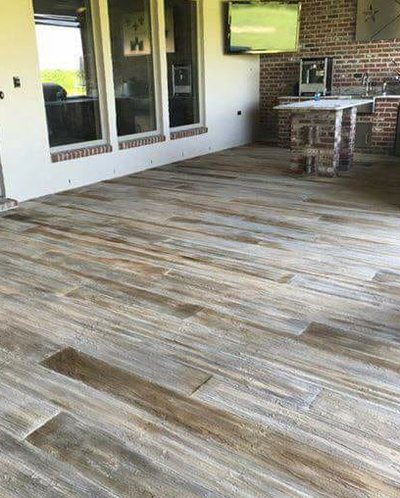 Stamped and stained concrete flooring to have a wooden finish in Perrysburg, Ohio